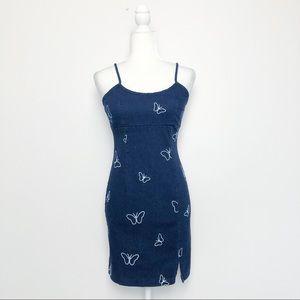 Vintage Y2K Stretch Denim Butterfly Mini Dress XS